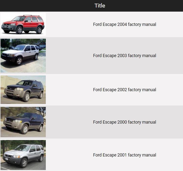 Ford Escape 2000 2004 Repair Manual Factory Manual