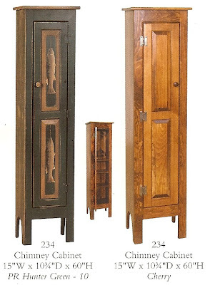 Amish chimney cabinet, 3 different versions, one with pictures of fish on the doors