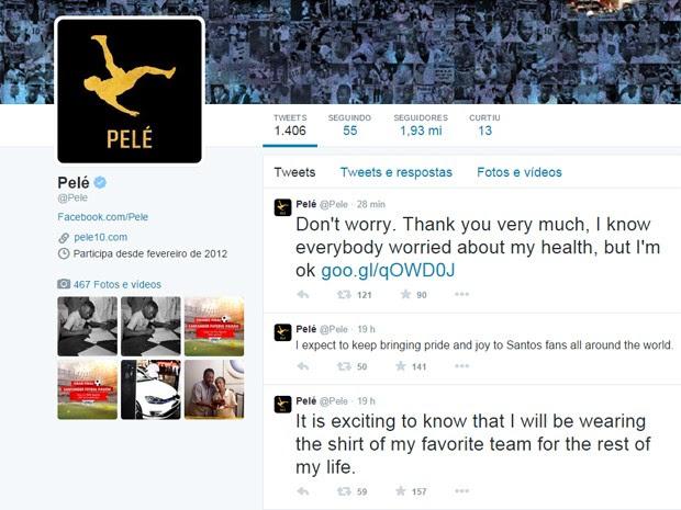 Pelé publica post no Twitter  (Foto: Reprodução Twitter )