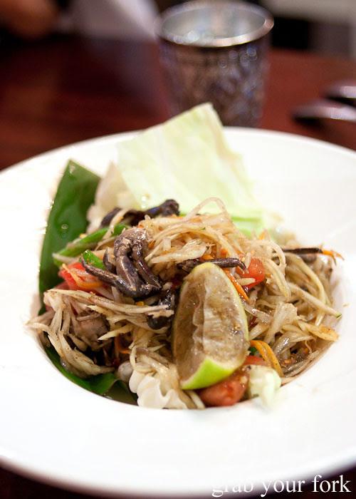 som tum papaya salad at Muay Thai