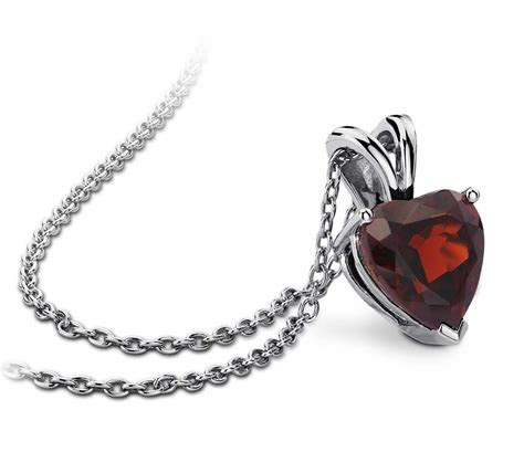 Garnet Heart Pendant in Sterling Silver (8mm)   Blue Nile