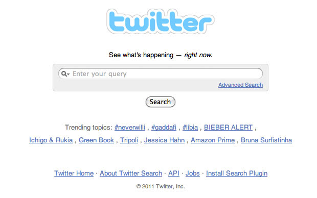 Página inicial de busca no Twitter (Foto: Reprodução/Pedro Villalobos)