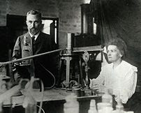 Pierre and Marie Curie in the laboratory. Prio...
