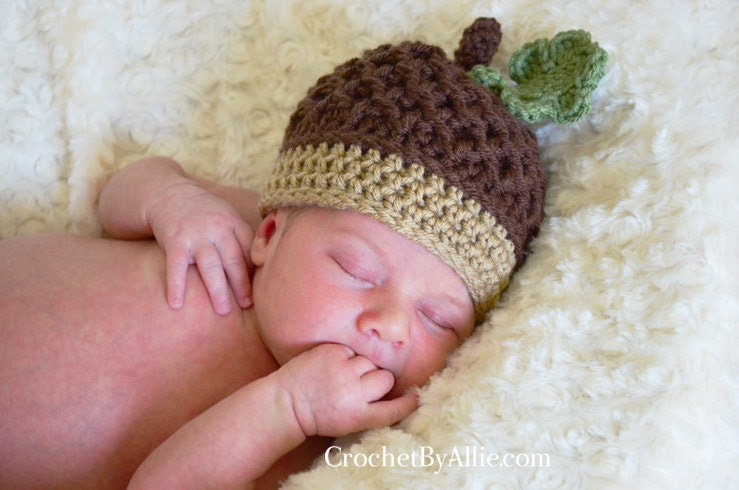 Autumn Acorn hat with leaf, newborn, 6-9 months, 12-24 months, photo prop, baby, fall, nut, Crochet By Allie Original Design - crochetbyallie