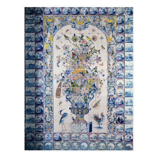 Delft tile panel from the bathroom postcards