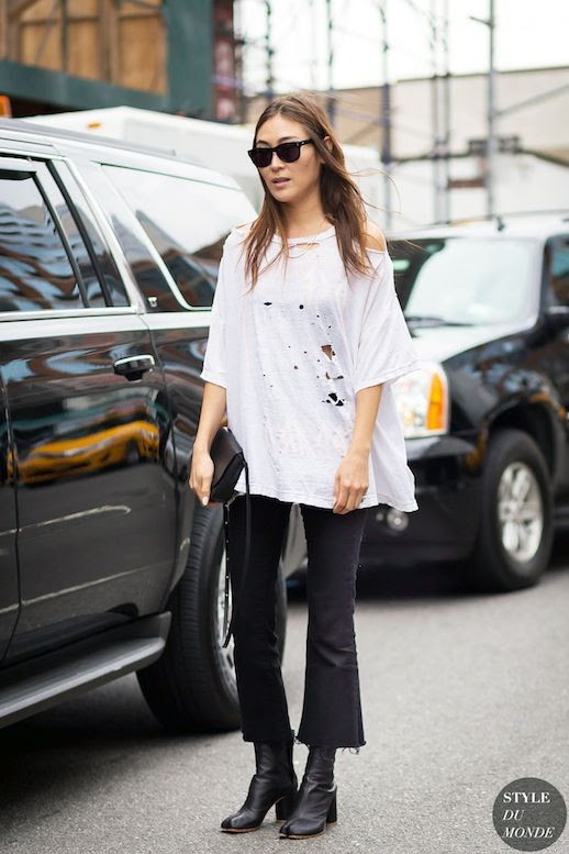 Le Fashion Blog Blogger Style Jayne Min White Distressed Tee Black Kick Flare Jeans Black Marginal Boots Via Style Du Monde