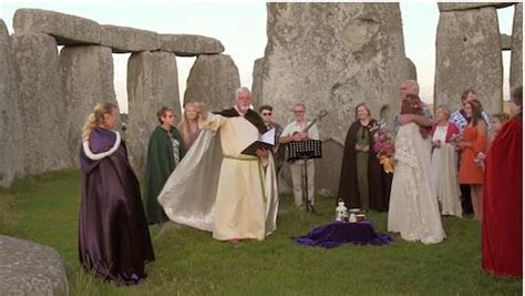 Handfasting and Marriage Ceremony inside Stonehenge Stone