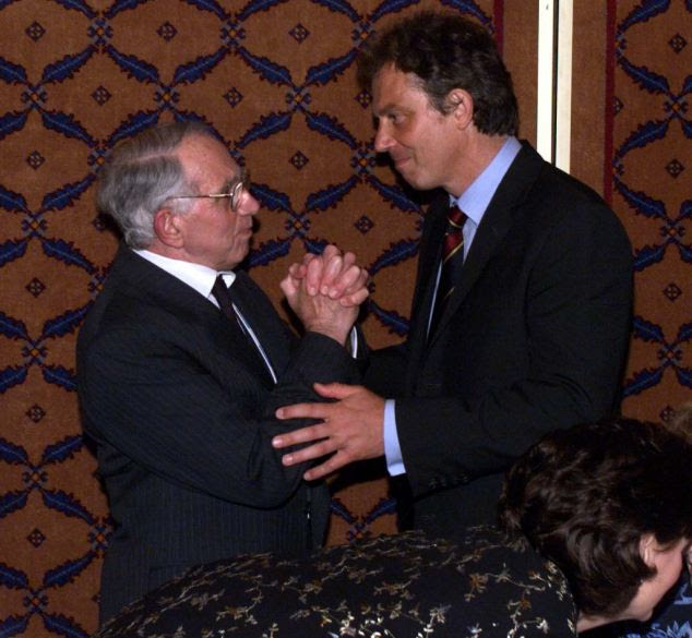 'A remarkable man': Then Prime Minister Tony Blair with his father Leo in Blackpool in 1998