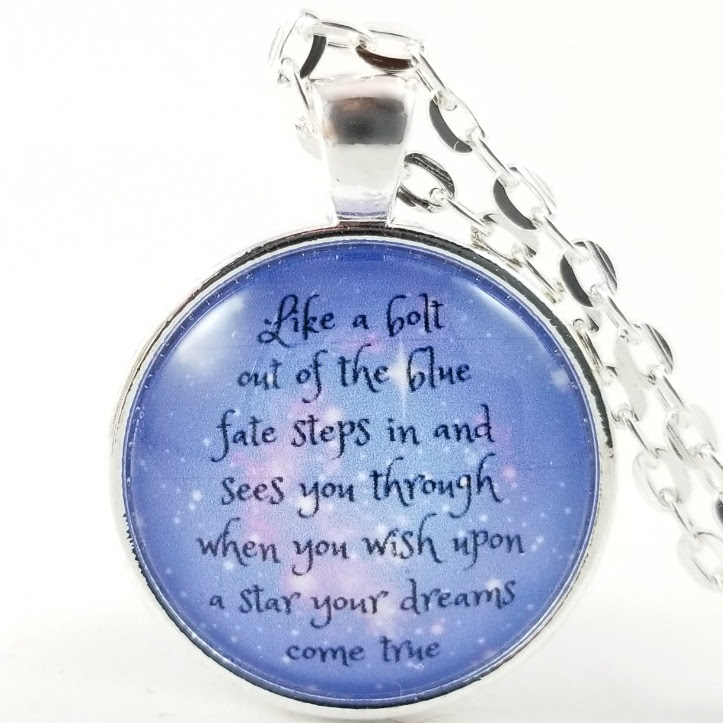 Jiminy Cricket Song Necklace Glass Pendant When You Wish Upon A