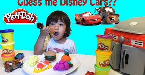Ryan plays with Play Doh Surprise Toys Disney Cars Guessing Game