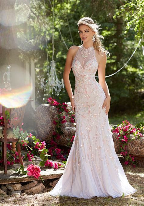 Net Prom Dress with Illusion Sweetheart Neckline   Style