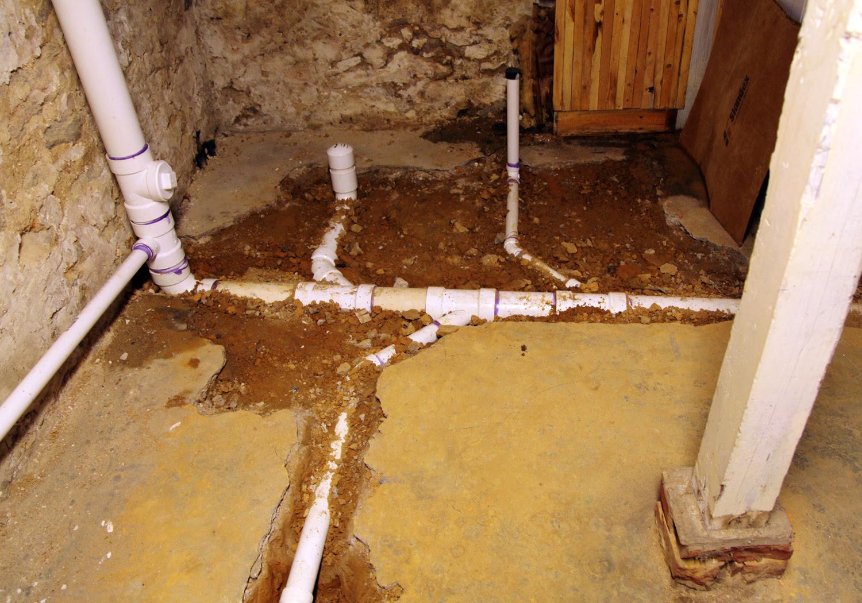 Lines Under Basement Floor Drain