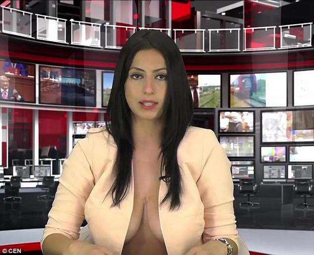 Revelando: Enki Bracaj consiguió un trabajo en la televisión albanesa después de mostrar sus pechos a través de un top abierto durante las pruebas de pantalla (en la foto), pero ha sido suspendida después de acordar hacer una sesión de fotos para Playboy