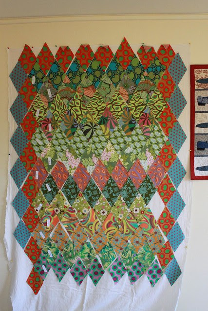 Kaffe Fassett diamonds quilt - in progress