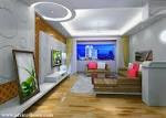 white pop ceiling design and wall design and brown sofa set in ...