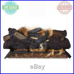 Vented Gas Fireplace Grate Logs Dual Burner Decorative Fire Glass