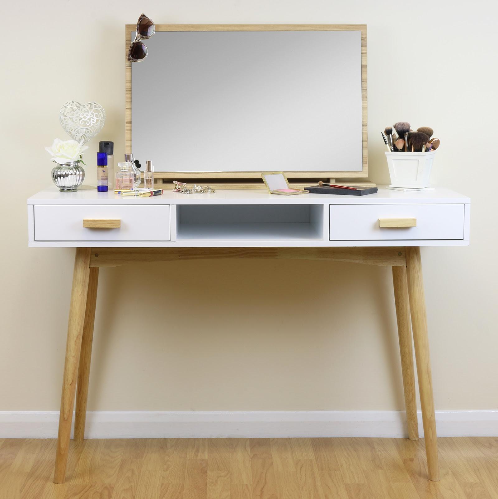 White Scandinavian Modern Bedroom Dressing Table Makeup ...