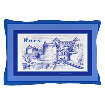 HERS Blue Castle Pillow Case