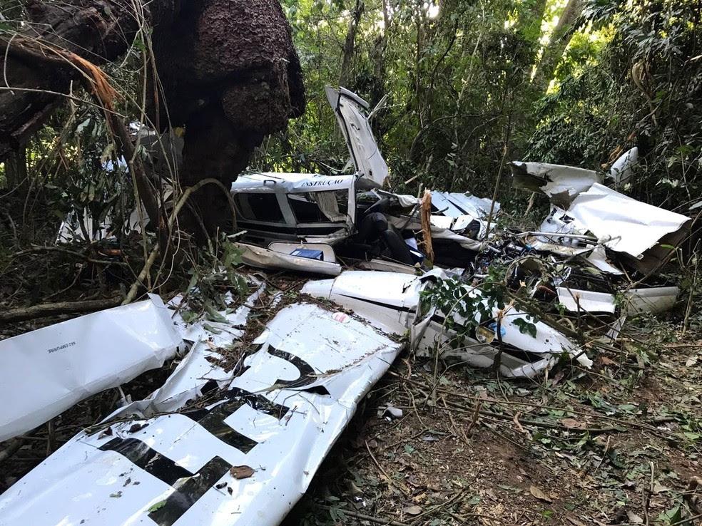 Aeronave caiu em área rural de Itapira, SP (Foto: Daniel Mafra / EPTV)