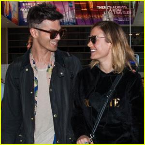 Brie Larson & Fiancé Alex Greenwald Couple Up at LAX