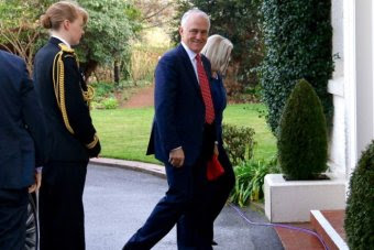 Malcolm Turnbull smiles as he arrives at Government House
