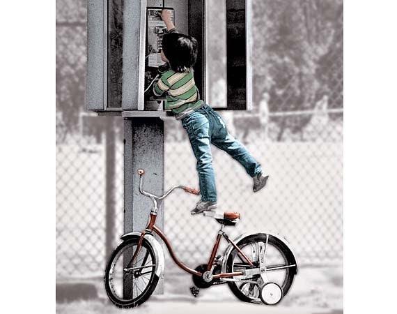 Phone Booth Photo -  Humorous Art - Girl on Bike - justamoment