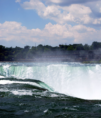 The Niagara River becomes the Canadia Falls.
