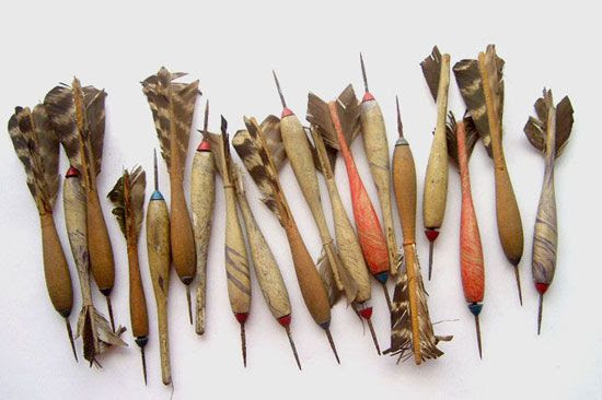 Turkey feather antique darts.