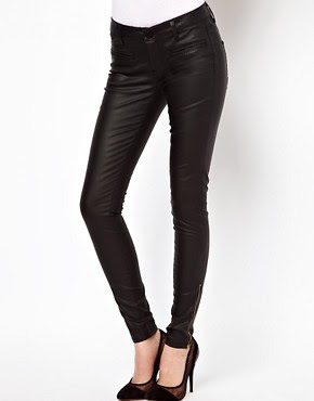 Image 1 of ASOS Leather Look Skinny Jeans with Ankle Zip Detail