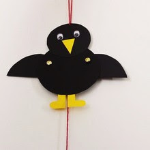 Crow puppet craft for kids