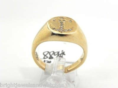 Men's 14k Yellow Gold Nautical Anchor Design Diamond