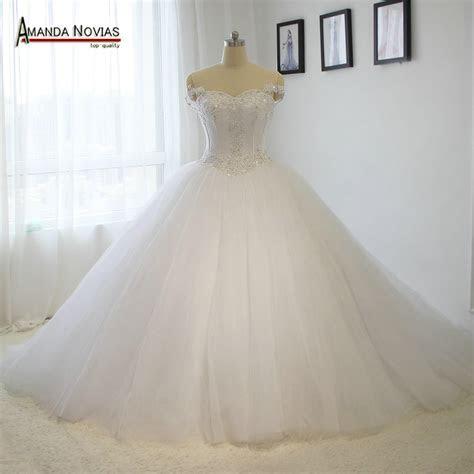 100% 2016 real model wedding dress big puffy lace wedding