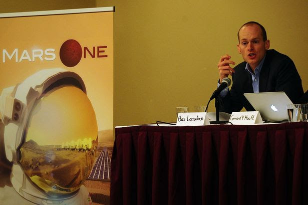 Mars One CEO Bas Lansdorp holds a press conference