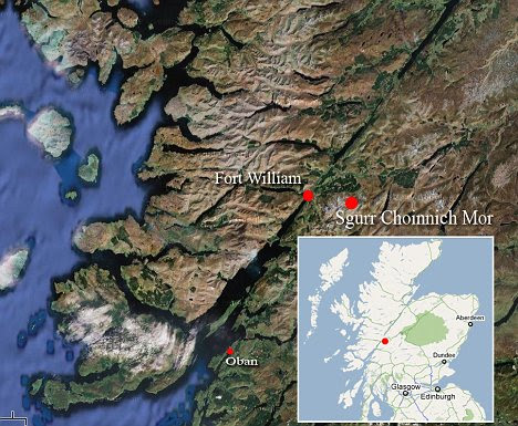 Location map: The climber fell down Sgurr Choinnich Mor which is located to the East of Fort William in Scotland