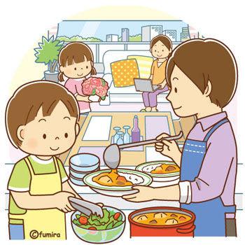 クリップアート母の日のイメージ料理をするお父さんと子供のイラスト