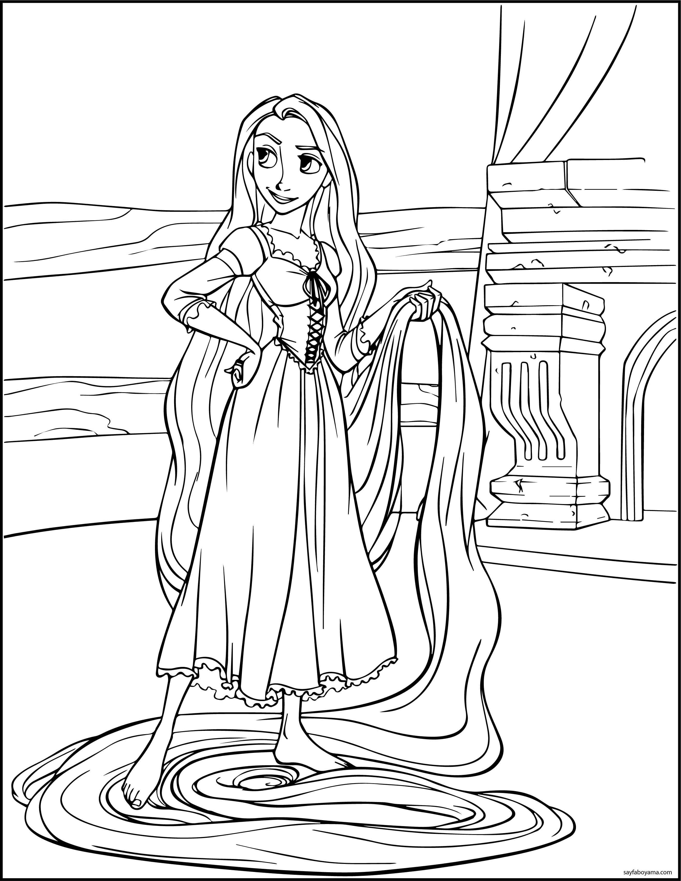 Rapunzel Prenses Boyama Sayfası