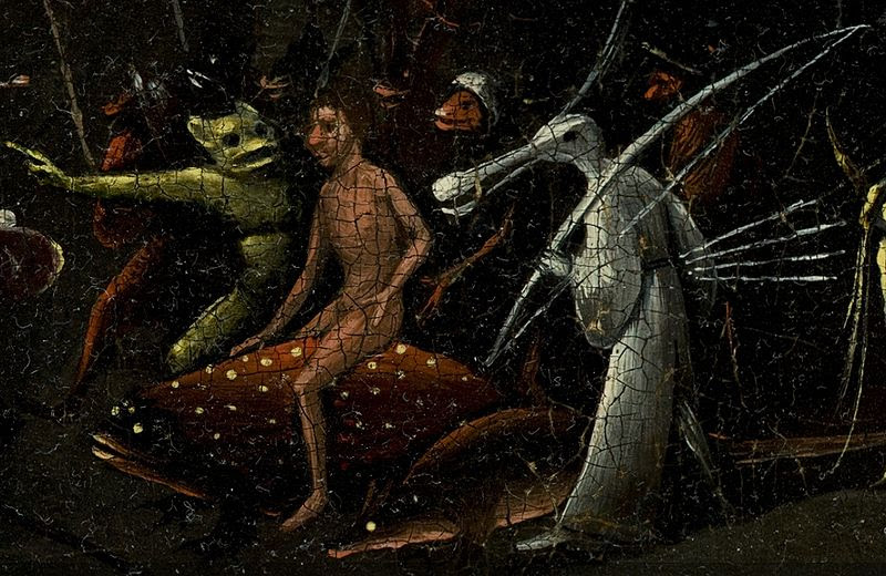 File:Bosch, Hieronymus - The Garden of Earthly Delights, right panel - man riding on dotted fish and bird creature.jpg