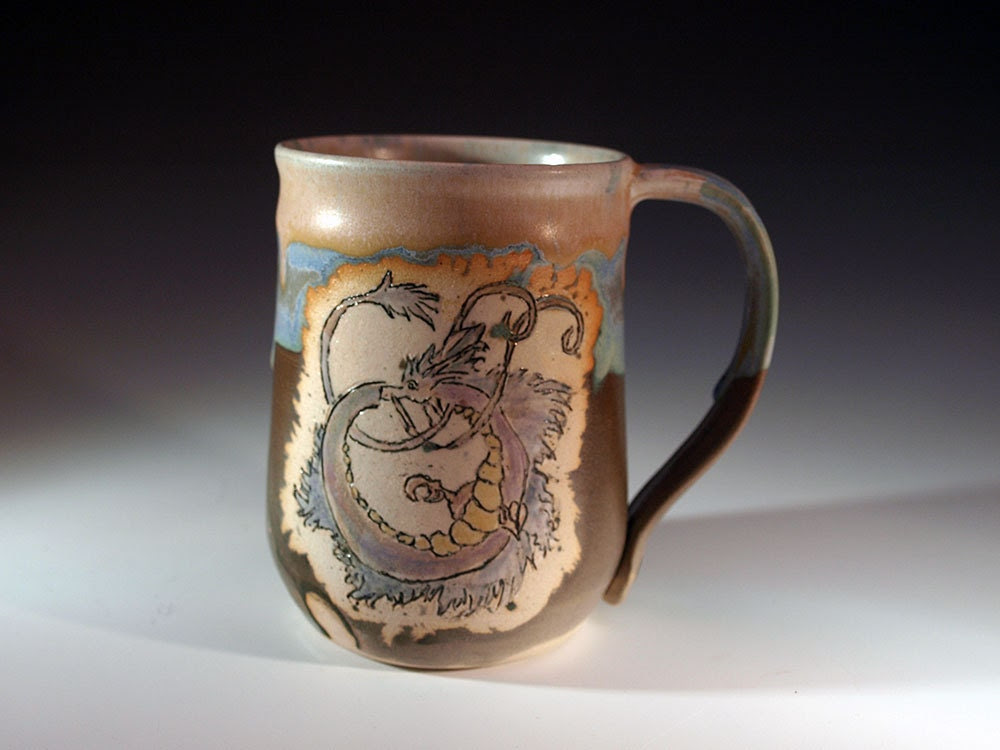 Purple Spiral Dragon Stein or Mug - FutureRelicsGallery