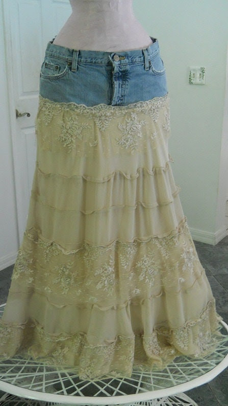 Isabelle gorgeous lace crepe tiered ruffled fabulous Renaissance Denim Couture bohemian jean skirt