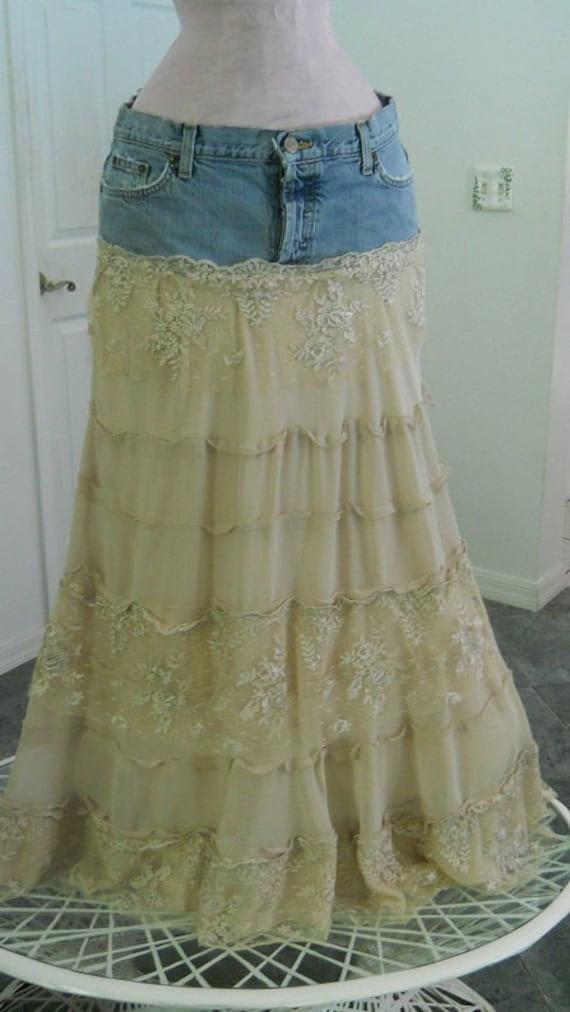 Isabelle gorgeous lace crepe tiered ruffled fabulous Renaissance Denim Couture bohemian jean skirt