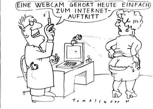 Cartoon: Webcam (medium) by Jan Tomaschoff tagged webcam,kamera,arzt,praxis,patient,gesundheit,überwachung,big,brother,datenschutz,webcam,kamera,arzt,praxis,patient,gesundheit,überwachung,big brother,datenschutz,big,brother