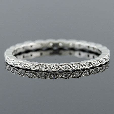 Ultra Thin Pave Diamond Woven Milgrain Stackable Platinum