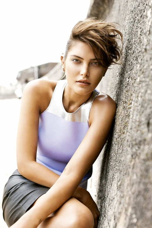 VOGUE AUSTRALIA CATHERIN MCNEIL SURF INSPIRED EDITORIAL FAUX HAWK MULTIPLE EAR PIERCINGS HORN EARRING GIVENCHY DRESS CROP TOPS BALENCIAGA SPRING SUMMER 2012 TANK TOPS WAVES TAN CLEAR NECKLACE 2