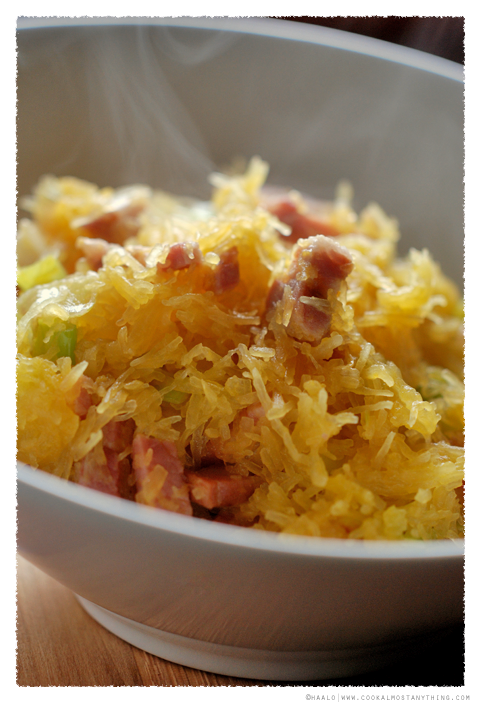 spaghetti squash with Pancetta and Leeks© by Haalo