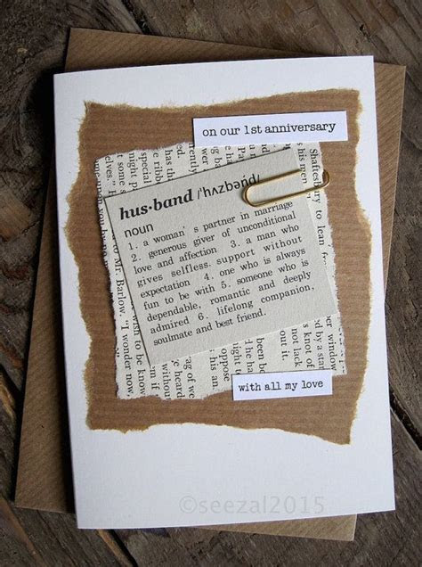 1st Anniversary Wedding Day Card Husband Wife. Paper