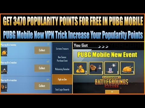 GET 3470 POPULARITY POINTS FOR FREE IN PUBG MOBILE || New VPN Trick Incr...