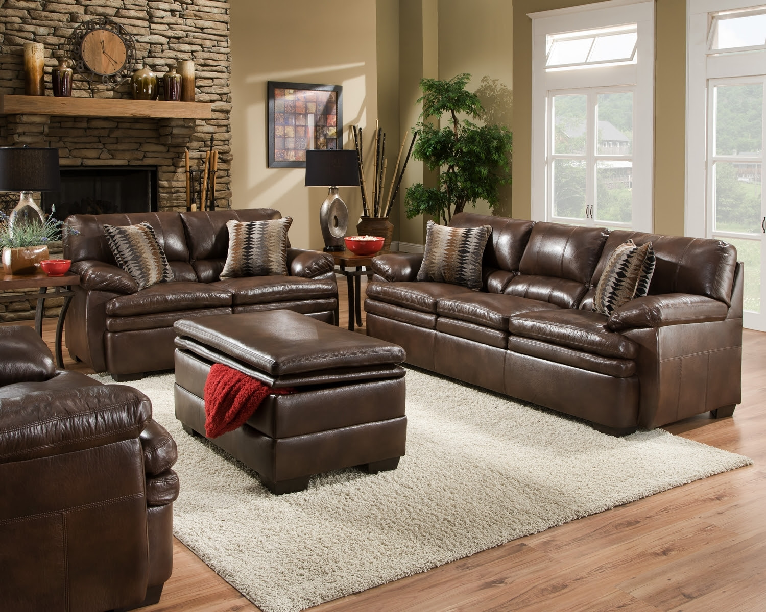 Brown Bonded Leather Sofa Set Casual Living Room Furniture ...