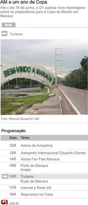 Arte programação Copa Manaus - Turismo (Foto: Arte G1)