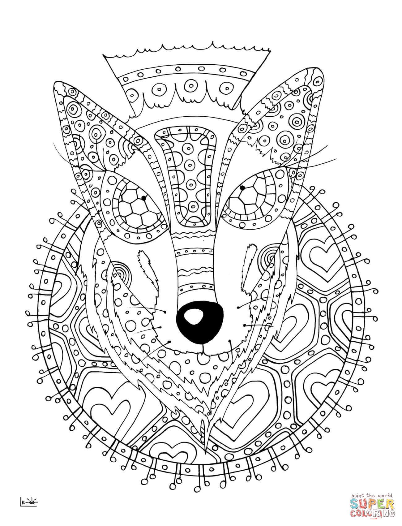 Wolf with Tribal Pattern coloring page | Free Printable ...