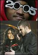 Man with festive glasses. | Janet Jackson and Justin Timberlake a moment before the big reveal.